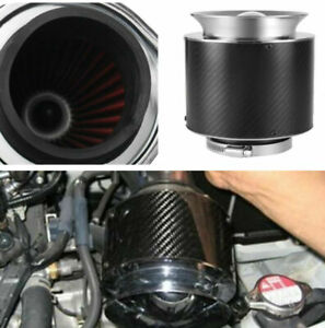 """Auto Car Carbon Fiber Surface 3"""" Inlet Intake Air Filter + Stainless Steel Clamp"""