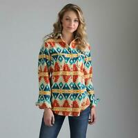 Wrangler Women's Retro Multi Color Aztec Print Fleece Snap Up Shirt LWK342M