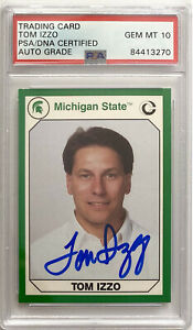 TOM IZZO SIGNED 1990 MICHIGAN STATE ROOKIE BASKETBALL CARD PSA/DNA AUTO 10