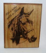 """Laser engraved wooden horse wall decor 11 1/4"""" x 14 1/4""""x 3/4"""" Horse lover Gift."""