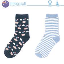 2 Pairs Women Socks Hosiery Crew Animal Pig Stripe Cute Casual Blue