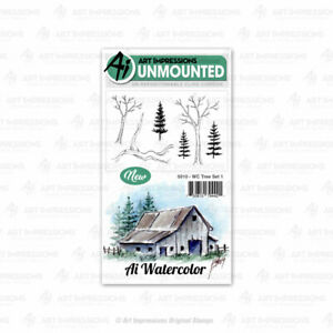 Watercolor Tree Set #1 Cling Rubber Stamp Set Art Impressions 5010 New
