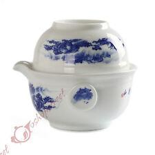 Chinese JingDe Porcelain Scenery Gaiwan Teapot Teacup Quick Gongfu Tea Maker Set