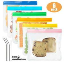 6pcs Reusable Silicone Kitchen Food Storage Bags Food Preservation Leakproof Bag