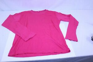 Women's Athletic Wicking Long Sleeve T Shirt High Visibility Fuschia Pink SZ XL