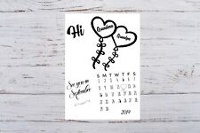 Pregnancy Announcement Calendar for Grandparents Due Date Personalised Monogram