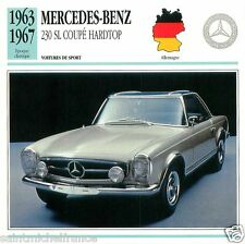 MERCEDES-BENZ 230 SL COUPE HARDTOP 1963 1967 CAR VOITURE GERMANY CARD FICHE