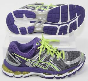 Asics Gel Kayano 21 Running Shoes Womens 5.5 Narrow 2A T4J5N Purple Silver Lime