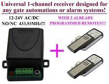 Universal receiver 1-ch 433,92MHz + 2 remotes for Garage gates FAAC, CAME, V2