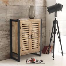 Harbour Indian Reclaimed Wood And Metal Hallway Furniture Shoe Cabinet Cupboard