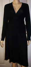 Pilot Black Kate Wrap V Neck Business Cocktail Dress Size M
