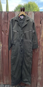 Dickies Olive Army Green Coveralls Long Sleeved Zip Up Jumpsuit Size 40 Short