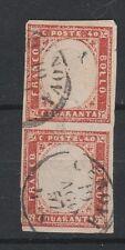 FRANCOBOLLI 1857 SARDEGNA 40 C. ROSSO SCARLATTO GENOVA 19/8 Z/232
