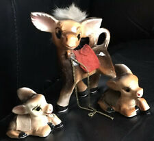 "(3) Vtg ceramic brown Donkey figurines 2"" Glazed donkeys with chains Mule"