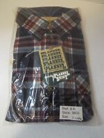 Vintage Sears Roebuck Men's Tall Flannel Shirt Button Up Red Blue XL 17-17.5 NWT