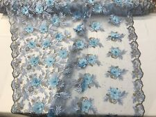 Light Blue 3D Flowers Embroidered with Pearls on a Mesh Lace