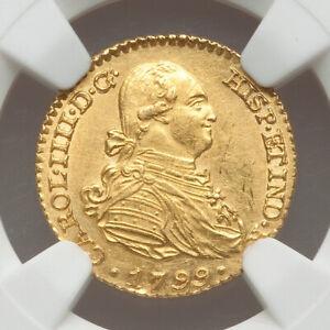 1799-M FA Spain GOLD 1 Escudo NGC MS62 Charles IV