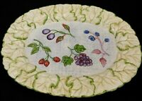 Oval Serving Platter 18 1/2 inch Unbranded Embossed Leaf Border with Berries