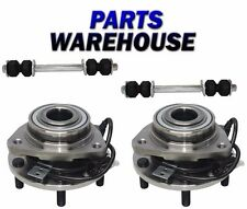 4 Pc Kit Front Wheel Hub & Bearing Assembly & Sway Bar Link 4WD ABS 1Yr Warranty