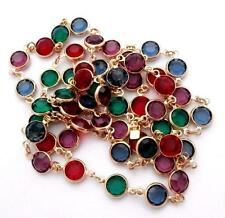 """Signed Swarovski Necklace 36"""" Gold Plated Bezel Set Jewel Color Crystals"""