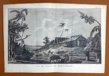 VUE DE L'ILE DE ROTTERDAM Gravure Voyage du Capitaine James COOK 1778
