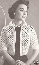 Vintage Crochet PATTERN to make Knot Stitch Lace Bolero Shortie Jacket KnottedJa