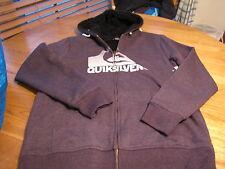 Men's Quiksilver hoodie zip up fuzzy head soft jacket coat small S  logo purple