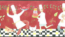 FRENCH CHEFS Wallpaper Border Red Cakes Bread Pasta Wine Lobster Warner TS106421