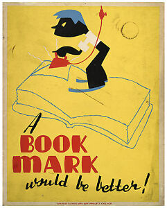 "Vintage Classic Art Print Poster ""A book mark would be better!"" ca.1940"