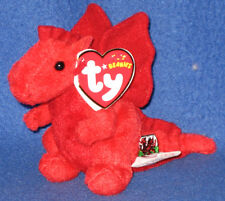 ORIGINAL VERSION TY Y DDRAIG GOCH the DRAGON KEY CLIP BEANIE BABY - UK EXCLUSIVE