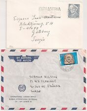 2 COVERS SUISSE SWISS TO SWEDEN. ASCONA and GENEVE BUREAU TRAVAIL. L522