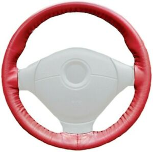 Wheelskins Red Genuine Leather Steering Wheel Cover for Chevy (Size AXX)