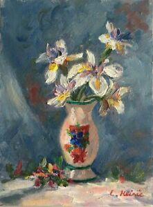 "Original Oil Painting Flowers Orchids 6 x 8"" Enoch Hlisic Australian Artist"