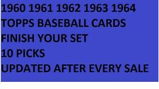 1960 1961 1962 1963 1964 Topps Baseball Cards Finish Your Set PICK 10