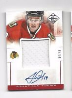 2012-13 jersey hockey card Jonathan Toews autographed Chicago Blackhawks  #04/49