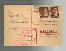 1945 GG Limonowa Poland Censored Postcard Cover to Krakow Red Cross Post War arr
