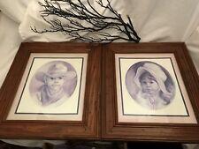 "Lot of 2 Framed & Matted Vel Miller Prints Cowboy & Prairie Girl 13.5"" by 15.5"""