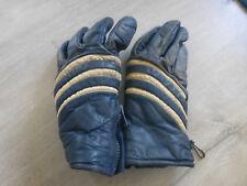 ancienne paire de gants ski neige annee 80 cuir bleu blanc vintage deco chalet