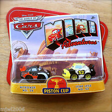 Disney PIXAR Cars MINI ADVENTURES Piston Cup NITROADE NO. 28 & LEAK LESS NO. 52