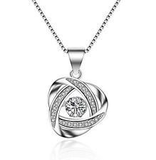 """Women Dancing 925 Sterling Silver Rotating Halo Pendant CZ 18"""" Necklace Gift Box"""