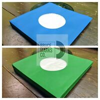 """50 SHEETS - GREEN & BLUE POLYLINED PAPER RECORD SLEEVES 7"""" VINYL EPs (45RPM)"""