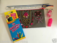 Helix Pencil Case Jewellery Flower Colouring Pencils Ruler Highlighter Eraser