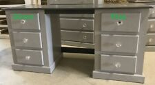 SHAFTESBURY 6 DRAWER DOUBLE DRESSING TABLE GREY/DARK GREY TOP & CRYSTAL HANDLES