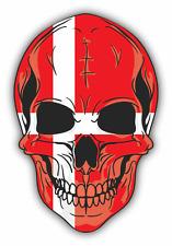"Skull Flag Denmark Car Bumper Sticker 4"" x 5"""