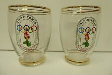 2 VINTAGE 1956 OLYMPIC GAMES GLASS CUPS  MELBOURNE GLASSES
