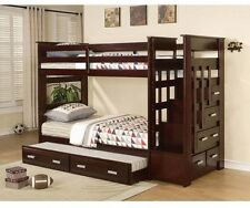 Bunk Bed Twin Over Twin With Trundle Storage Drawer Stair Step Bedroom Furniture