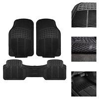 3PC Universal Floor Mats for Auto Car SUV Van All Weather Heavy Duty Black Set
