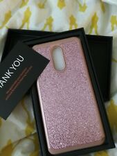 TJS Phone Case And Glass Protection for LG Stylo 5/LG Stylo 5 Pink Glitter