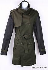 Altuzarra Target Belted Twill Trench Coat Military Army Green Black Sleeves Med