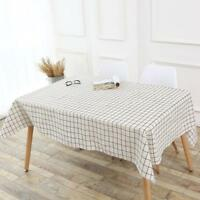 4 Sizes Sytlish Linen Table Cloth Country Style Plaid Print Multifunctional